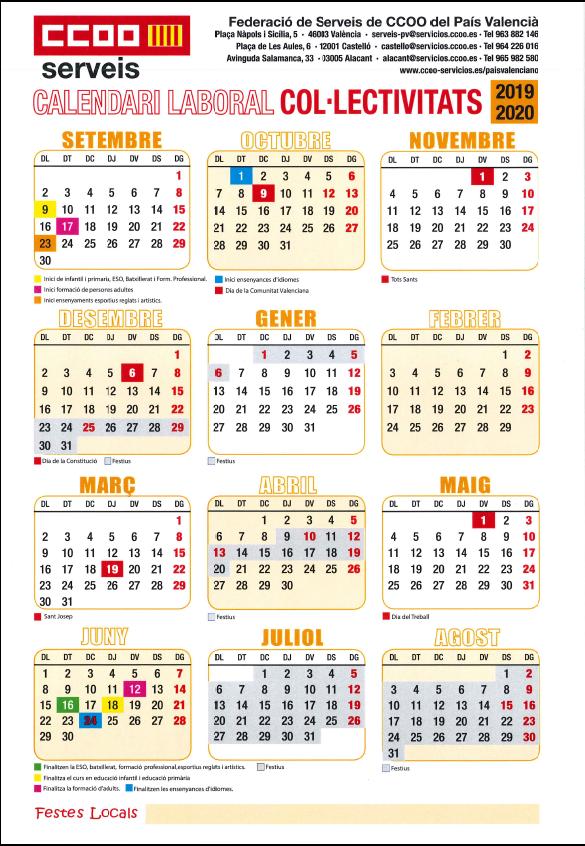 Calendarios Laboral-Colectividades Comedores Escolares