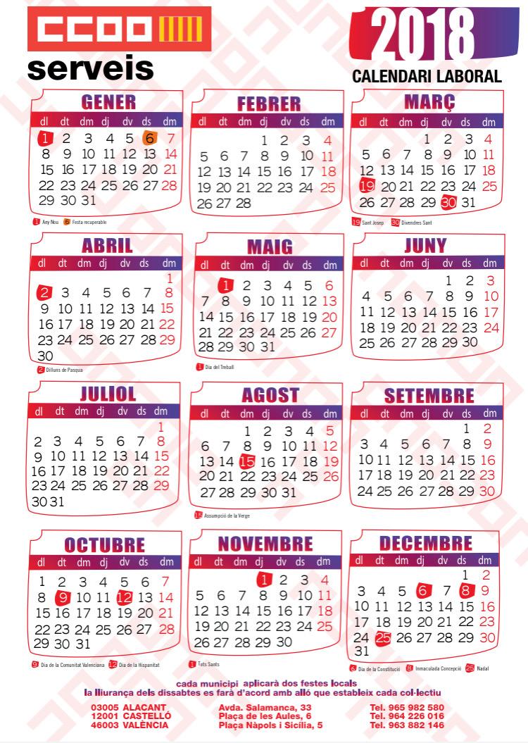 Calendario Laboral De Valencia.Calendarios Laborales Alicante Castellon Y Valencia Con Fiestas