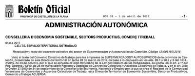 Boletin Oficial de Castellón. Convenio Supermercados Castellón