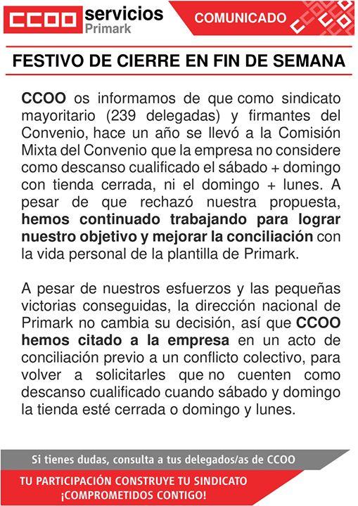 ccoo primark festivos conflicto colectivo