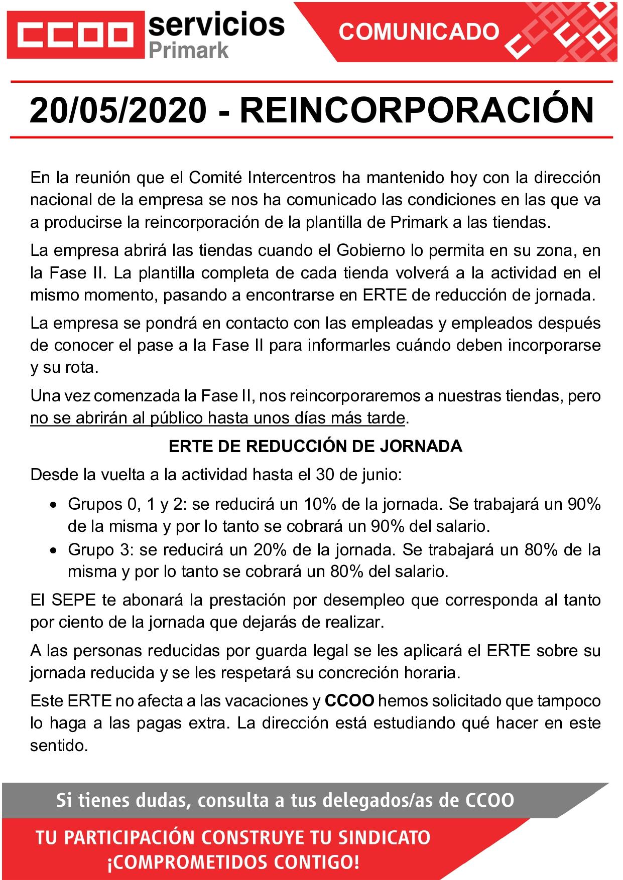 CCOO PRIMARK CORONAVIRUS COVID19 REAPERTURA REUNIÓN INTERCENTROS