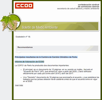 Boletin ecologico CCOO
