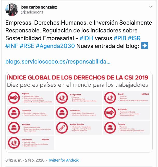 Tuit Jose Carlos sobre RSE y activismo accionarial