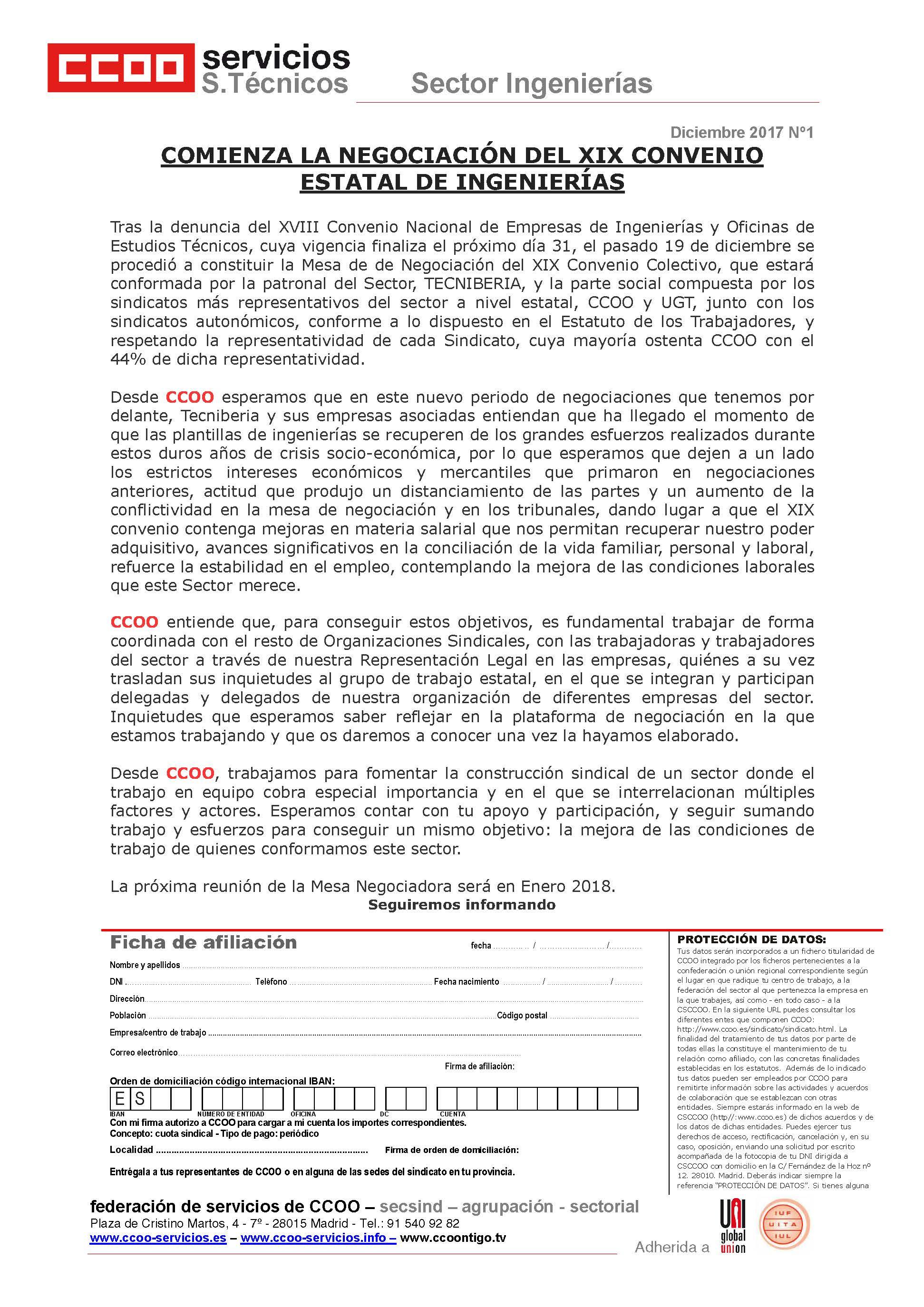 Convenio Ingenierías - CCOO Federación Servicios