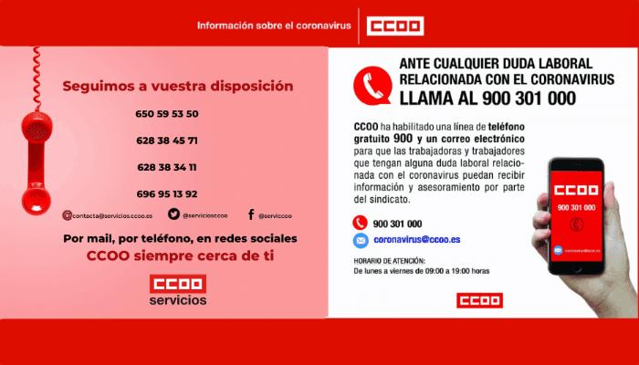 Telefono CCOO Coronavirus
