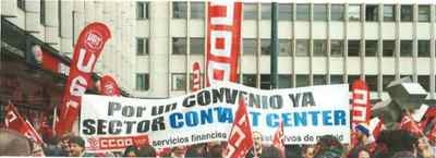 Manifestación por el convenio de contact center