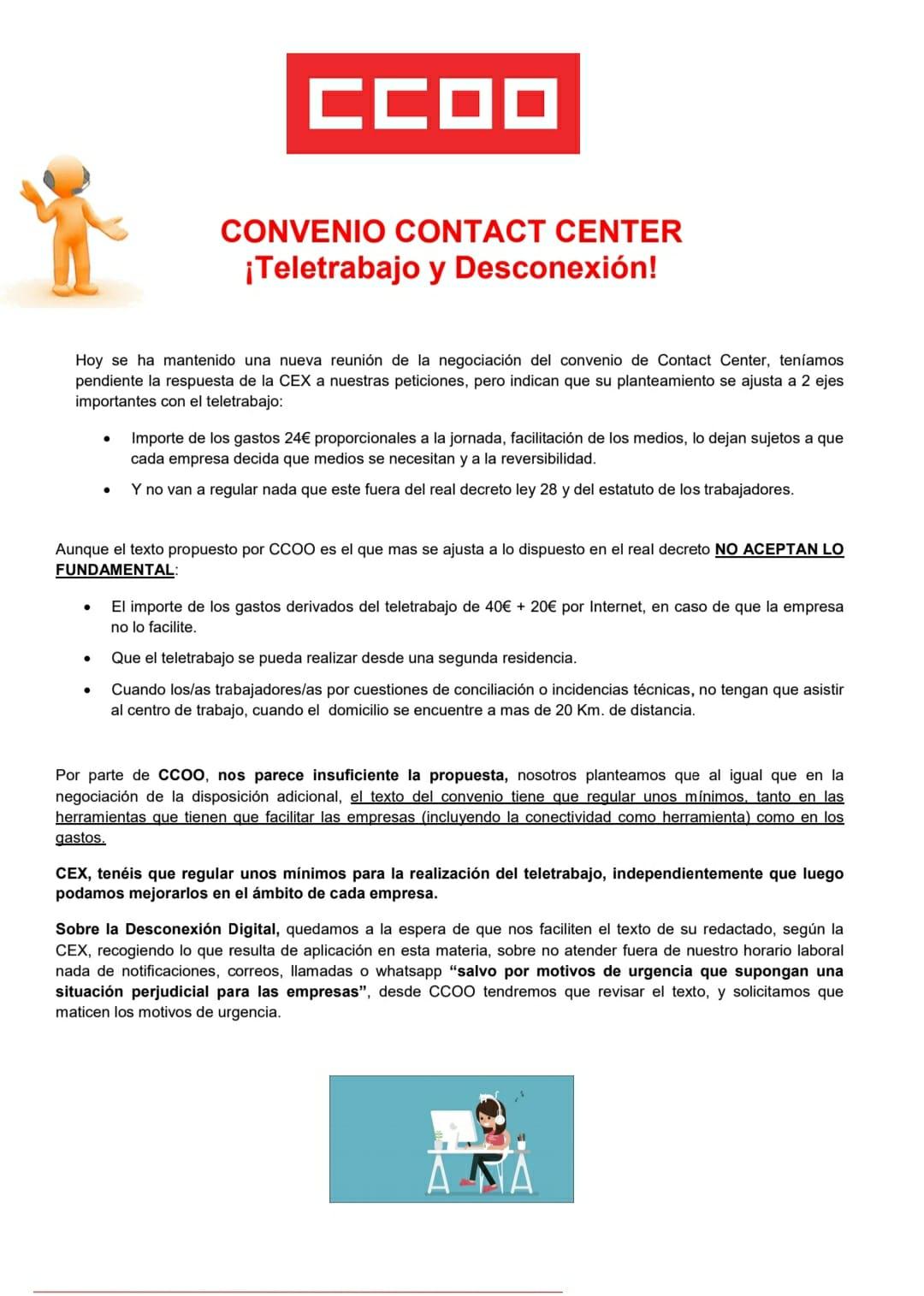 Comunicado convenio contact center