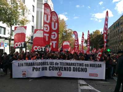 Manifestación Convenio contact center, negociacion.