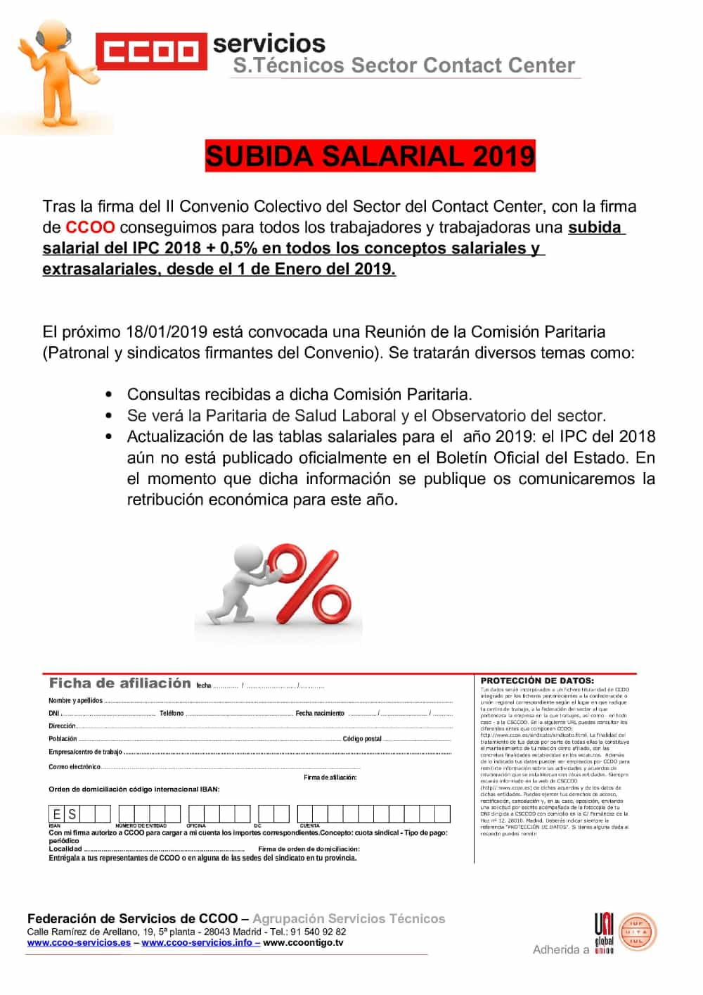 Subida Salarial Telemarketing 2019