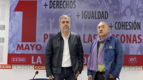 Unai Sordo, Pepe Alvarez CCOO y UGT - 1 de mayo