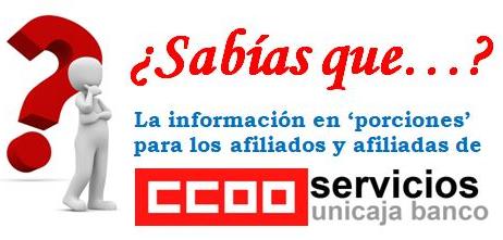 La información en porciones para afiliados de CCOO