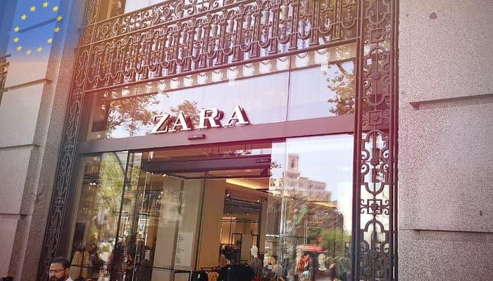 Tienda de Zara y bandera union europea